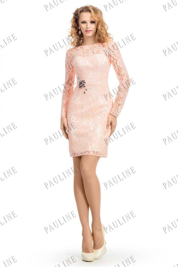 Кружевное коктейльное платье персикового цвета ПАЛЬМЕТТА