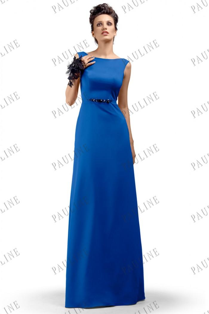 Синее длинное вечернее платье ЭДИТ ГРАВИТЕ