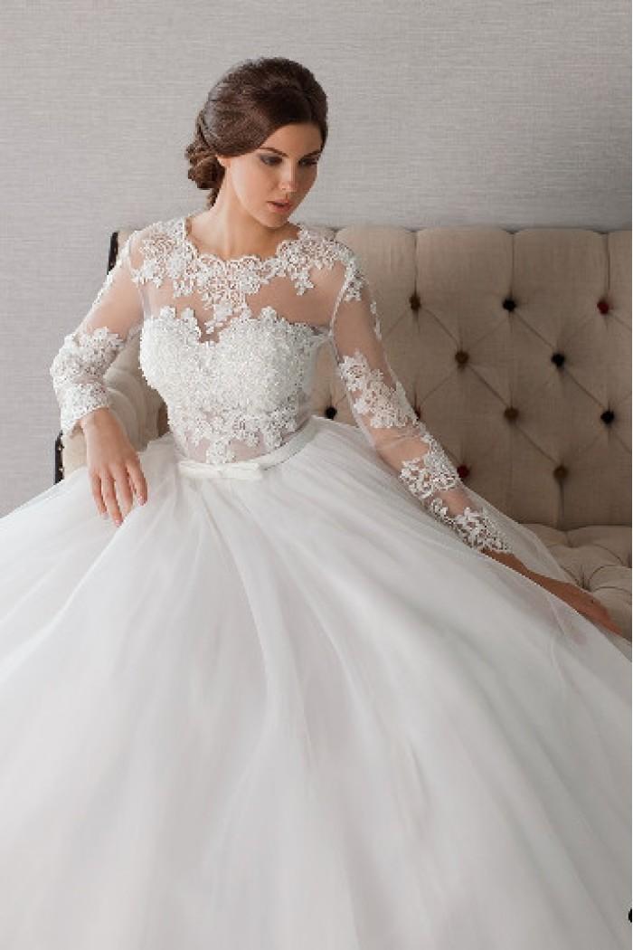Свадебное платье с пышной юбкой и ажурными рукавами SALI BRIDAL