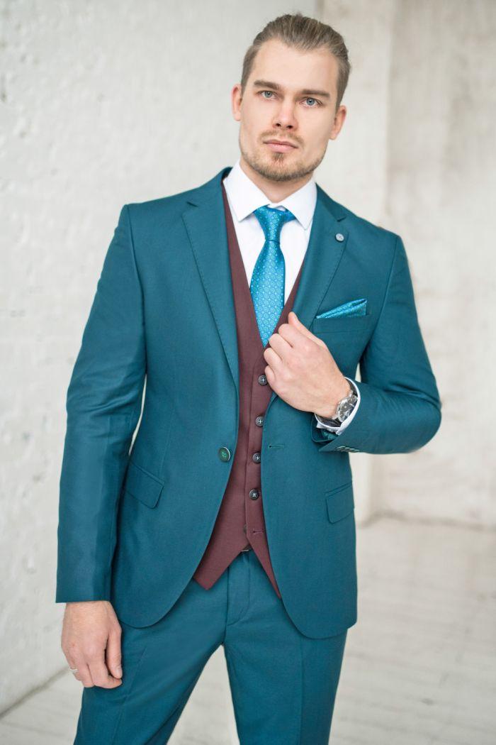 Стильный мужской костюм цвета Морской Волны CRAWFORD GREEN