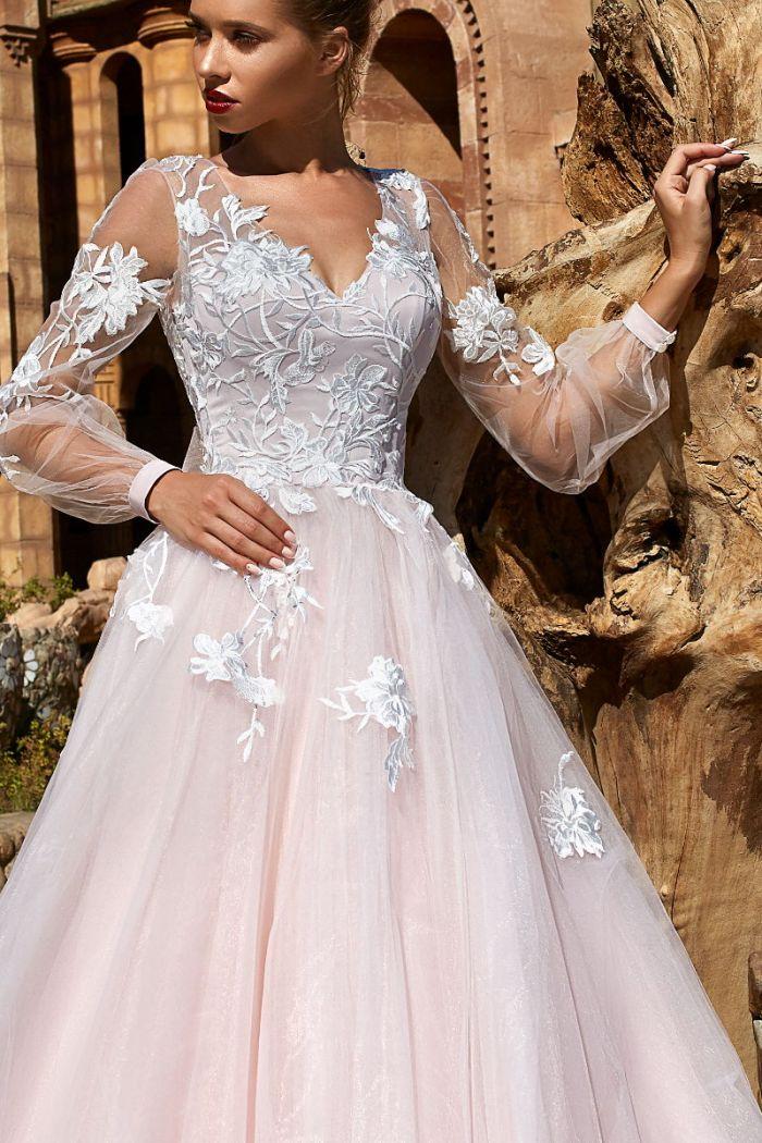 Романтичное нежно розовое свадебное платье А-силуэта ДАЛИА