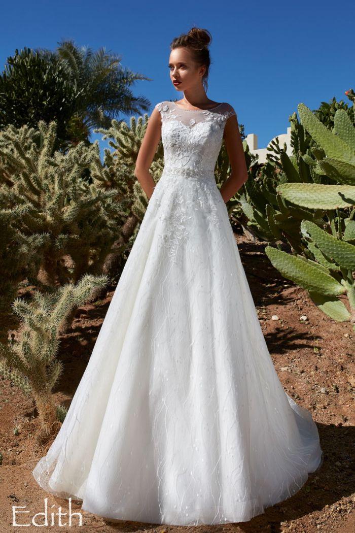 Изящное свадебное платье А-силуэта с элегантным закрытым верхом ЭДИТ