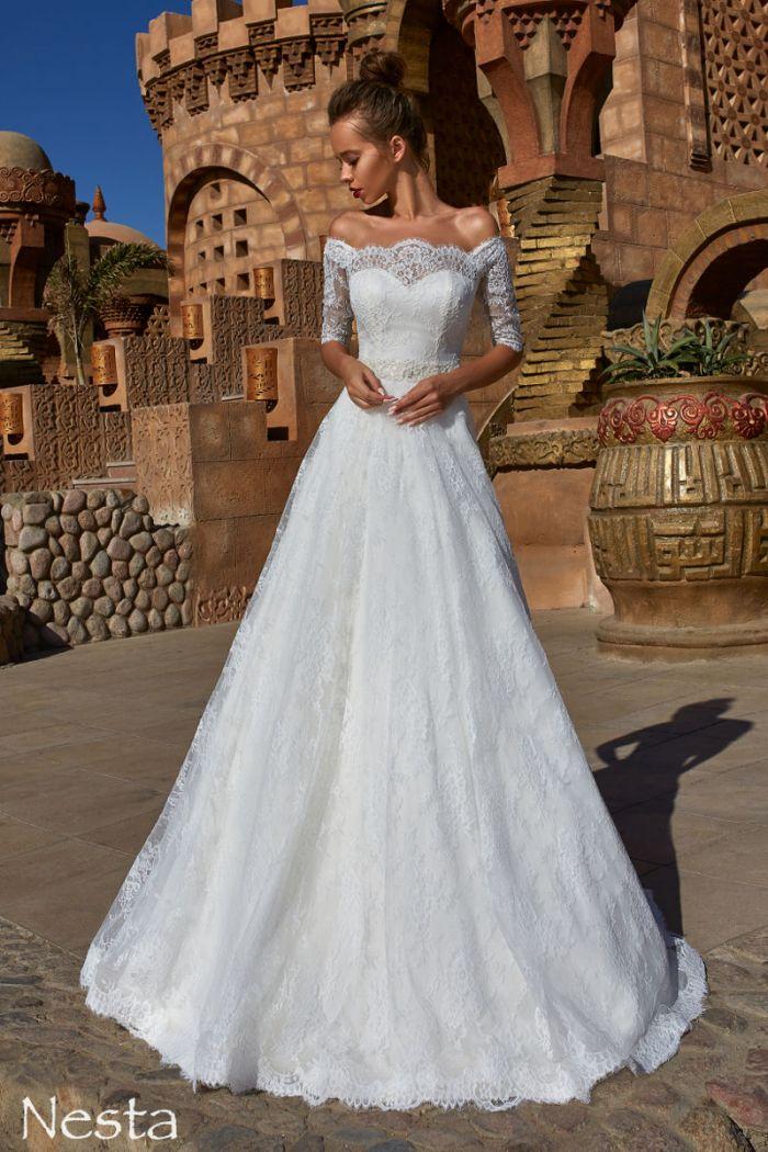 Кружевное свадебное платье А-силуэта с рукавами НЕСТА