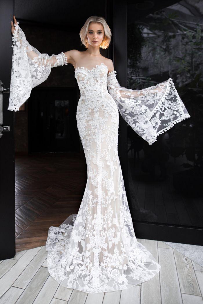 Силуэтное свадебное платье в стиле бохо со съемными рукавами ПАРАДИЗО