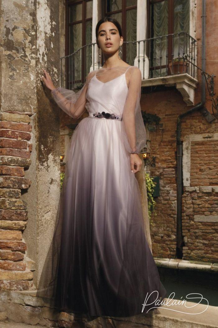 Атласное вечернее платье с эффектом деграде и туника из сетки с рукавами БЕЛЛА