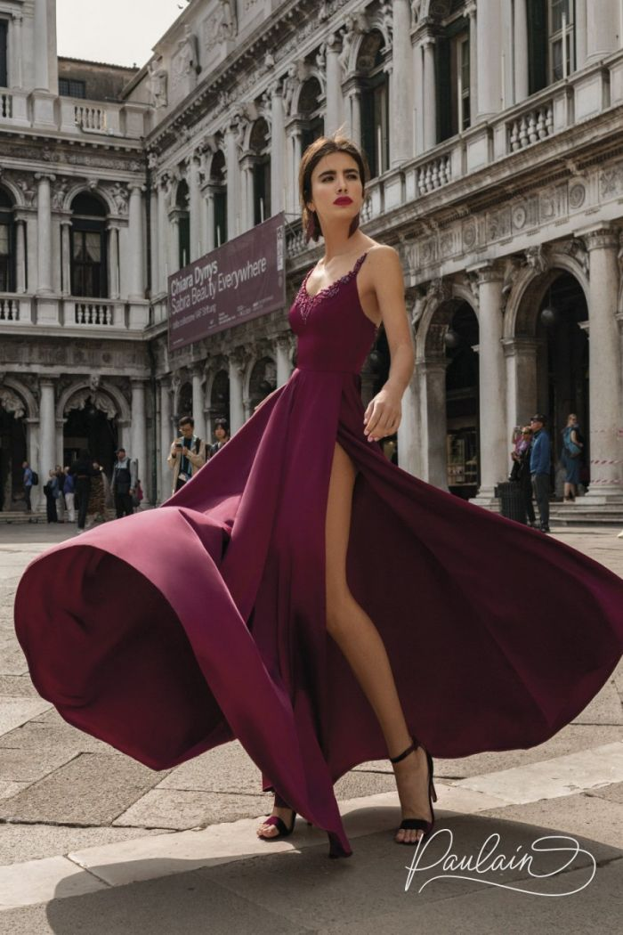 Длинное вечернее платье с высоким разрезом и прозрачной блузкой ГВЕН