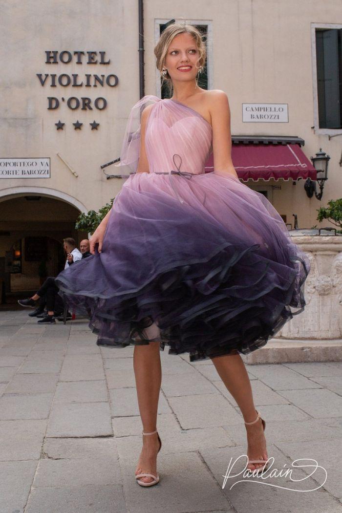 Оригинальное вечернее платье с пышной юбкой длины миди и эффектом деграде АЙСЕДОРА