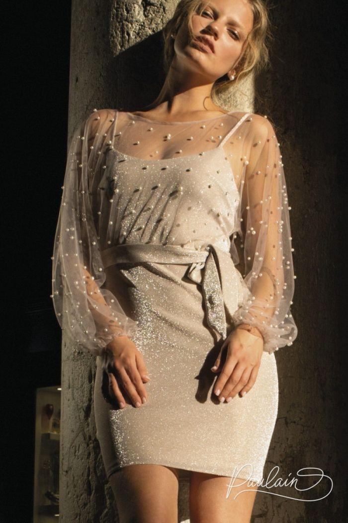 Лаконичное мини платье-комбинация с воздушной блузой расшитой жемчугом МЕГГИ