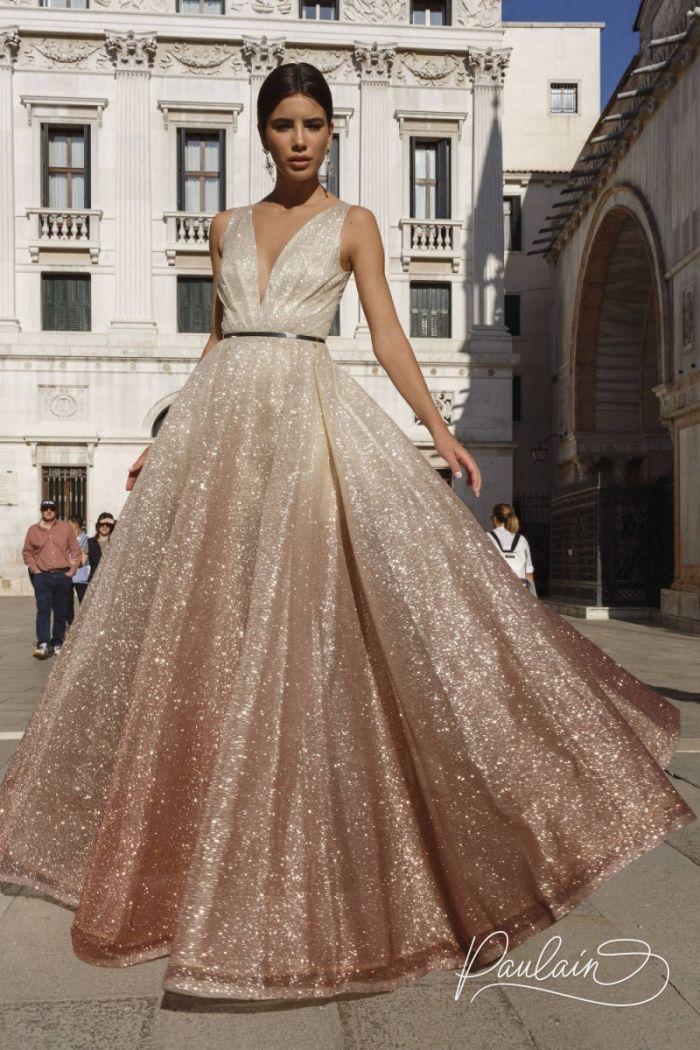 Потрясающее вечернее платье А-силуэта из искрящейся ткани с эффектом омбре МЕЛИСЕНТА
