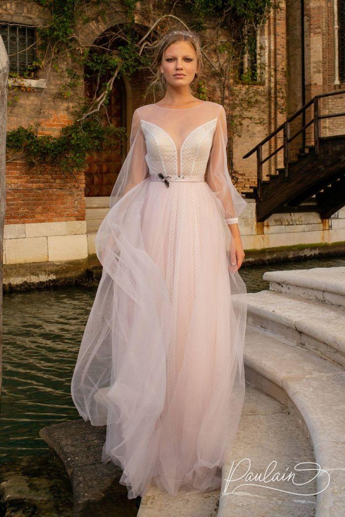 Утонченное платье серебристо-розового цвета с рукавом и открытой спинкой ОФЕЛИЯ