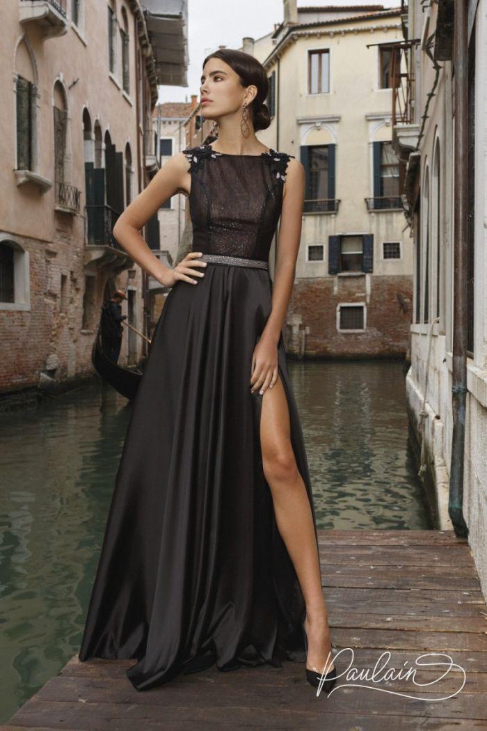 Длинное вечернее платье черного цвета с блеском и открытой спиной ПЕНЕЛОПА