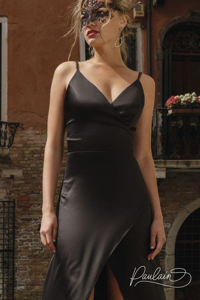Изысканное открытое вечернее платье на бретелях с разрезом спереди РОУЗ