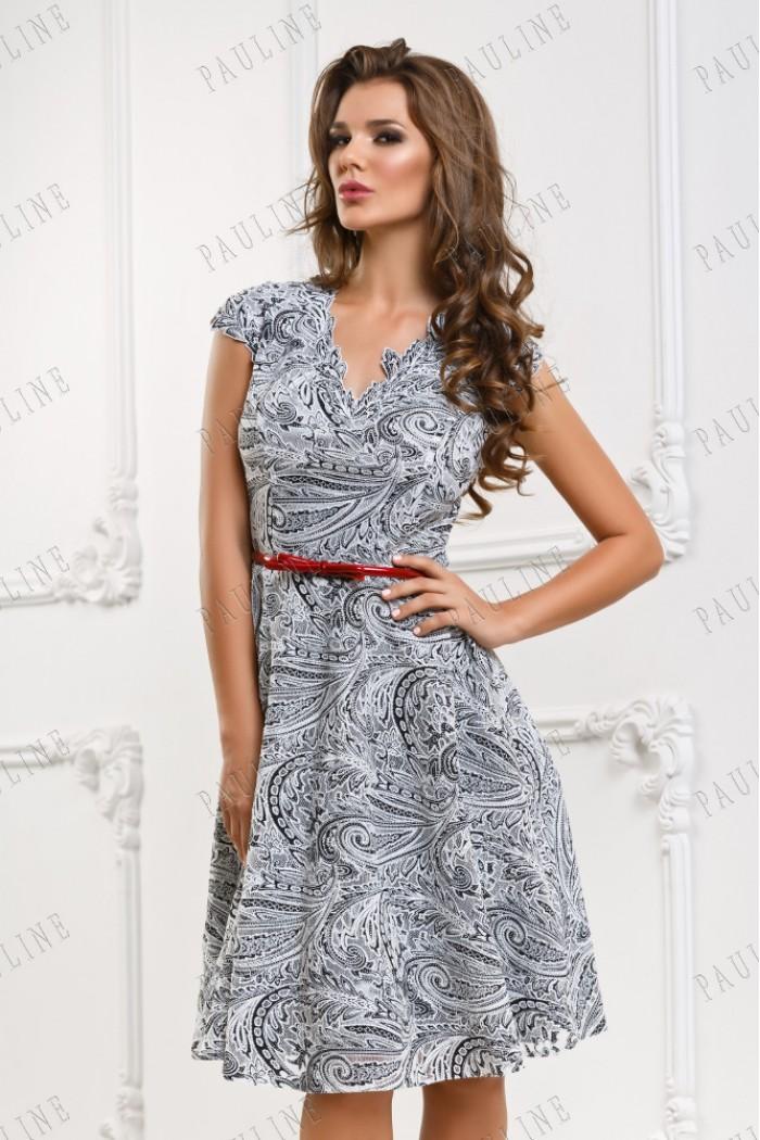 Черно белое короткое платье БЛАНТ