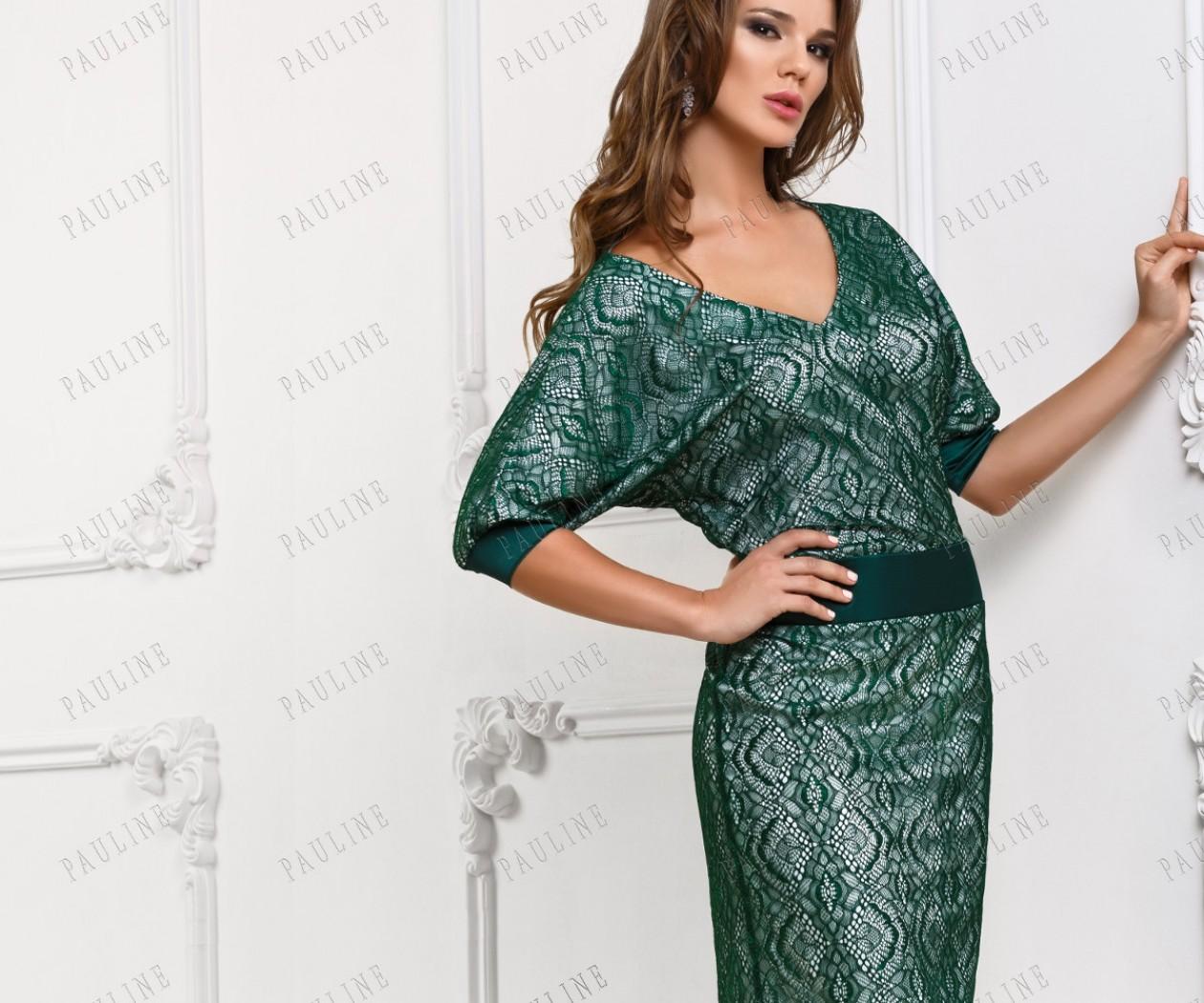 Короткое зеленое платье с кружевом КАНТАТА