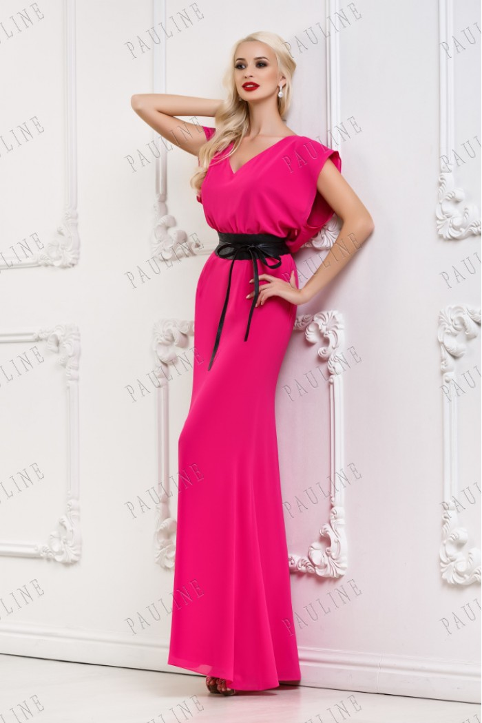 Длинное розовое платье с ремнем КОНСОНАНС