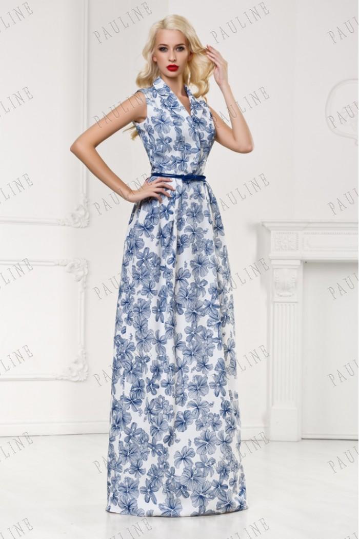 Белое платье с синими цветами КРУИЗ