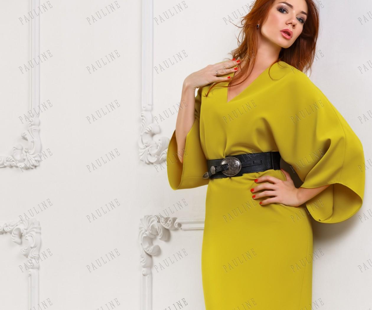 Модное короткое платье с ремнем ДЕБЮССИ
