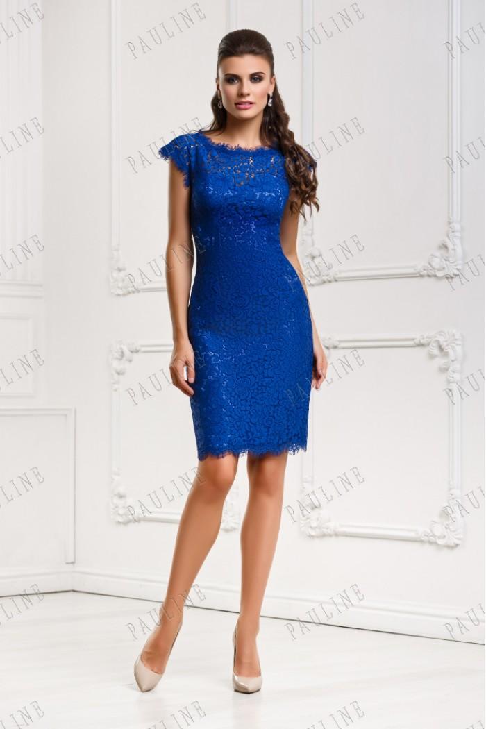 Кружевное короткое платье цвета ультрамарин ФРАНКО