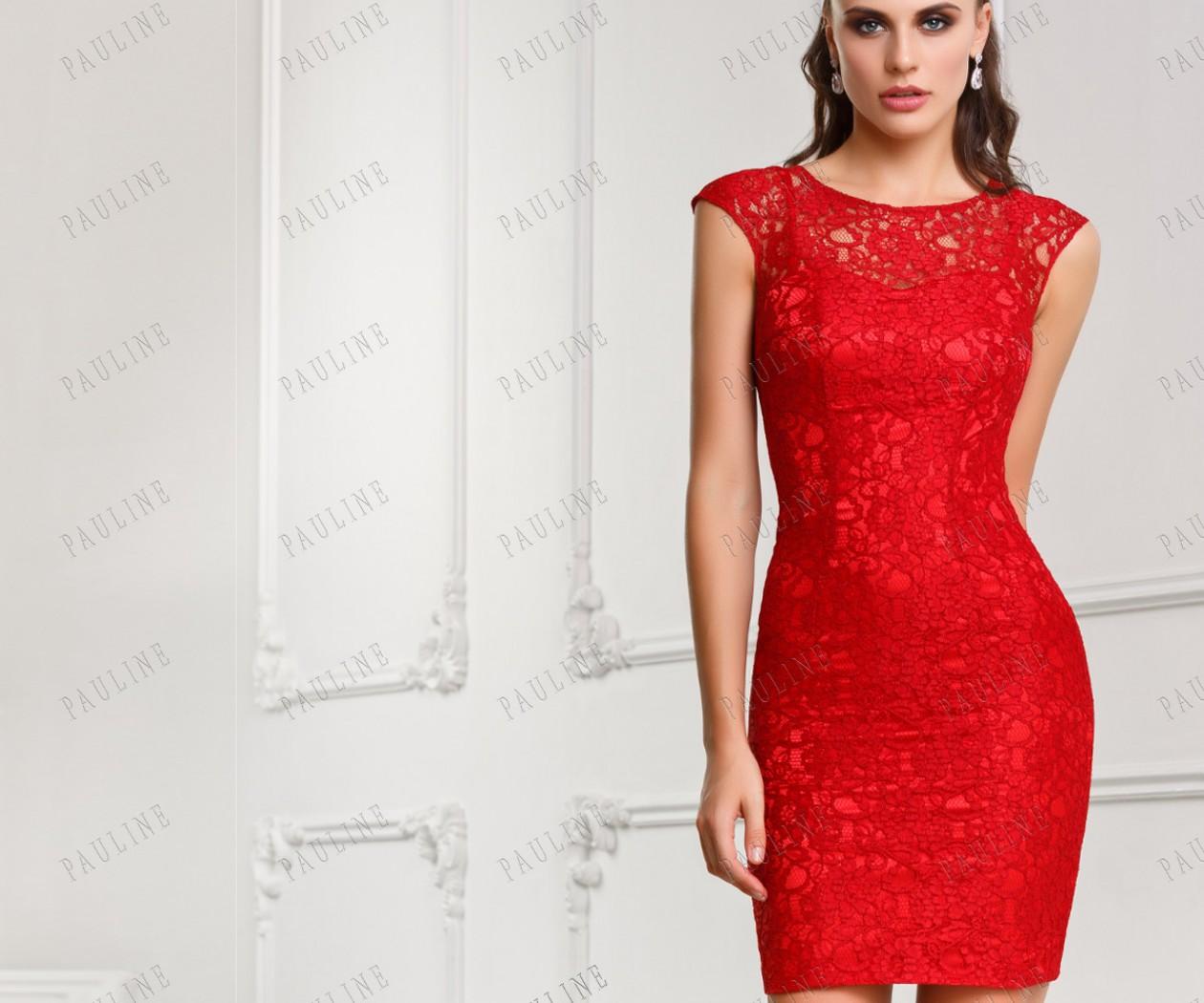 Красное платье с кружевом МЕЙ