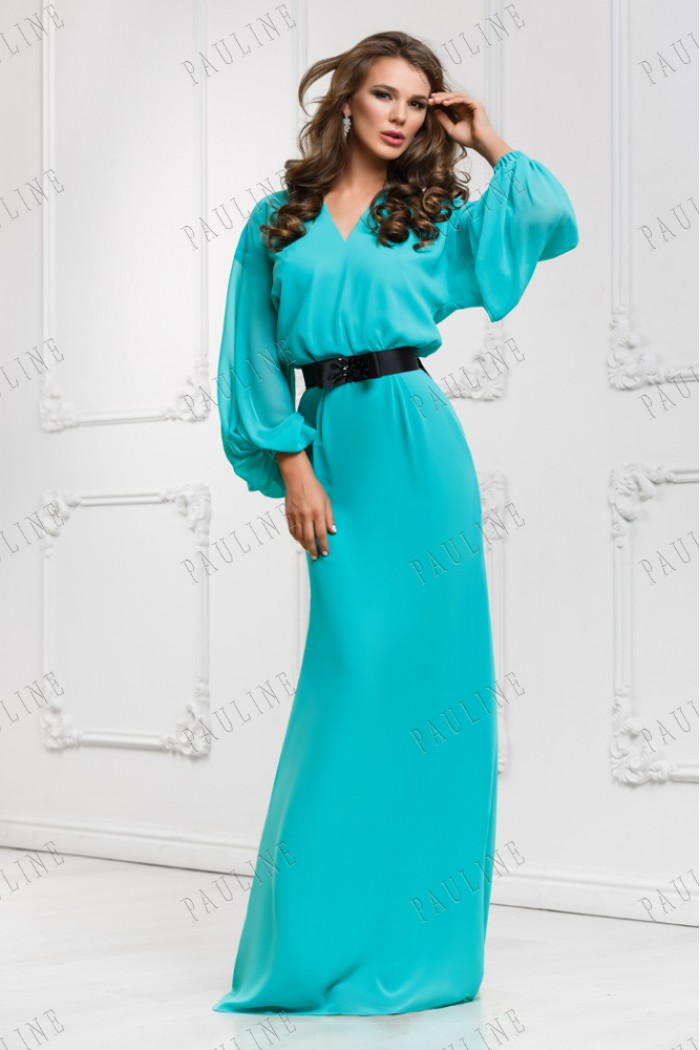 Длинное в пол платье с рукавами ОДА
