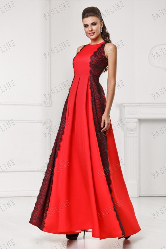 Красное длинное страстное платье РАВЕЛЬ