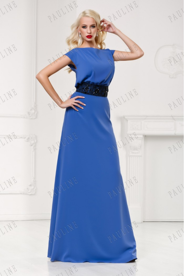 Длинное синее платье с поясом СЕНСАНС