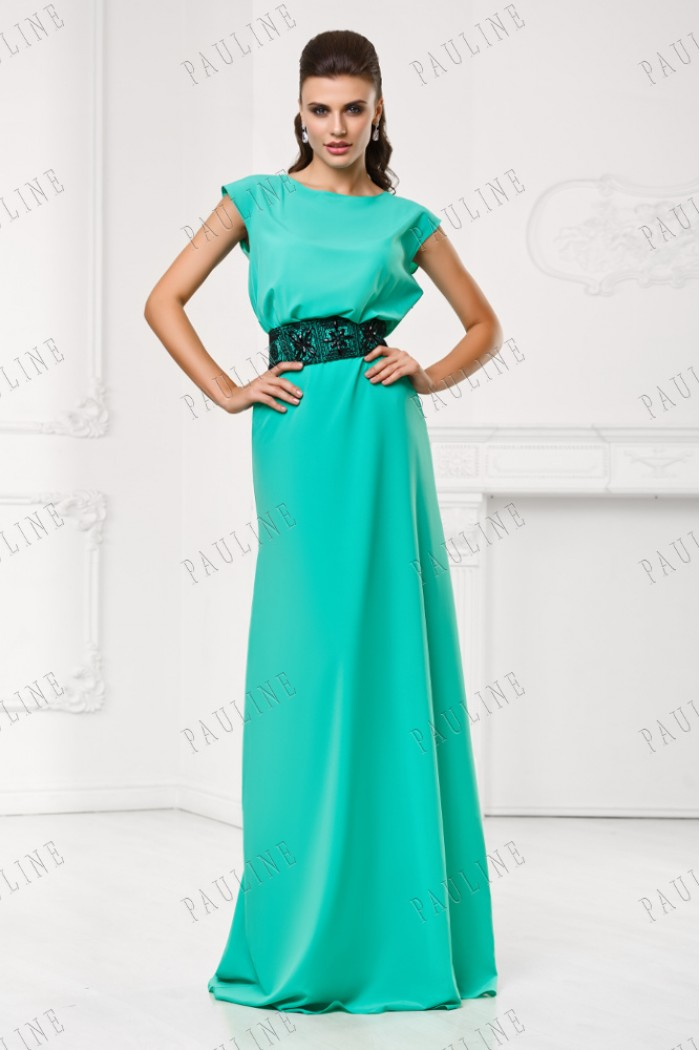 Длинное платье на выпускной с шикарным поясом СЕНСАНС