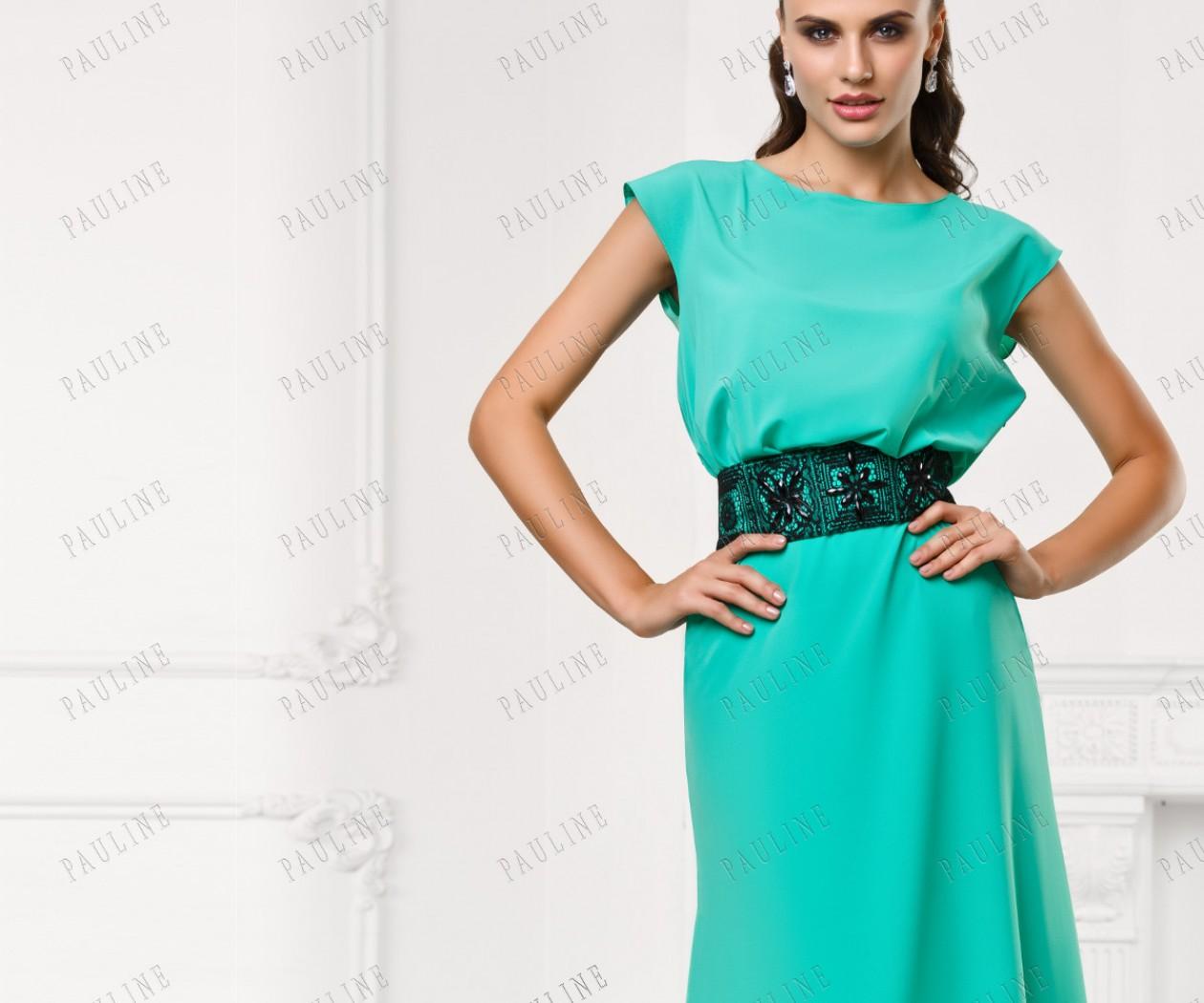 Длинное платье на выпускной цвета аква СЕНСАНС