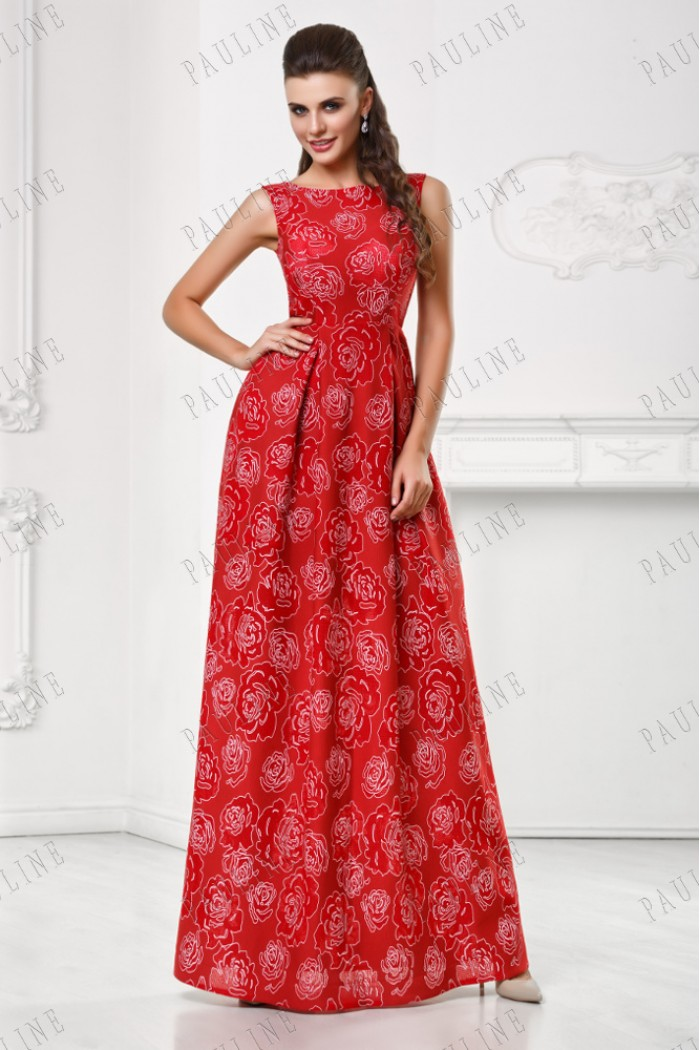Длинное платье красного цвета с цветами СИТАРА