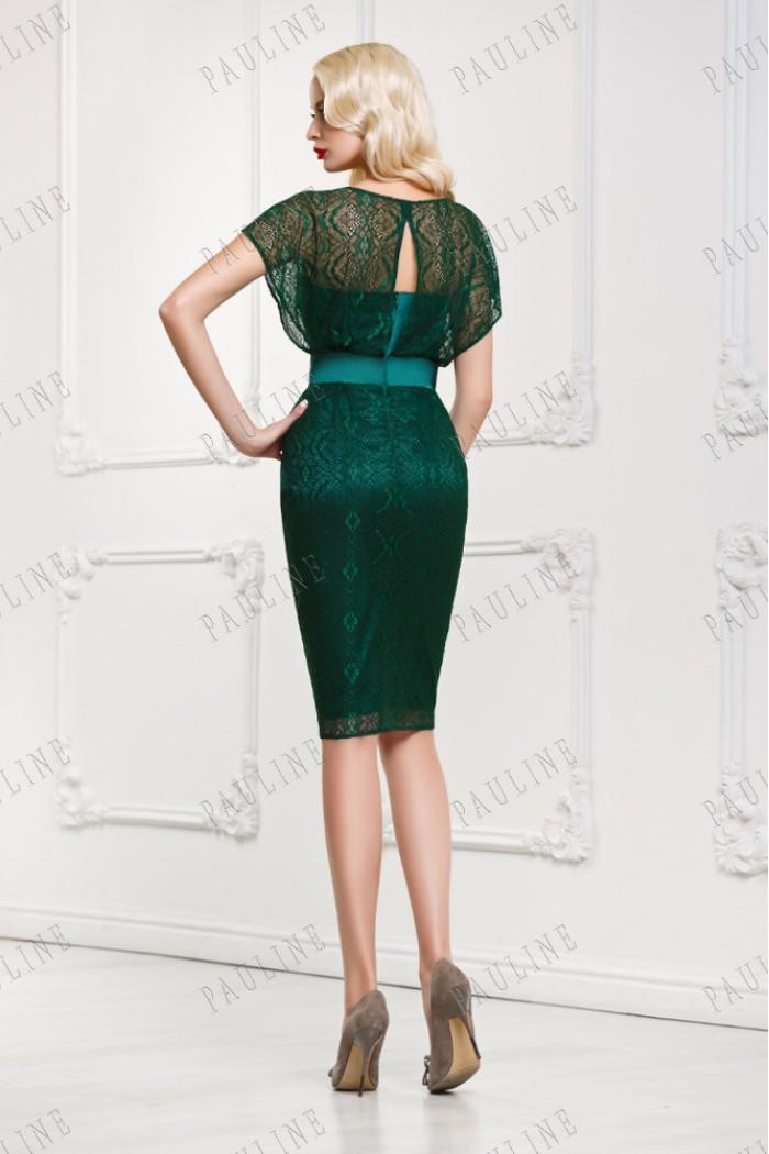 Коктейльное короткое платье с кружевом УНИСОН