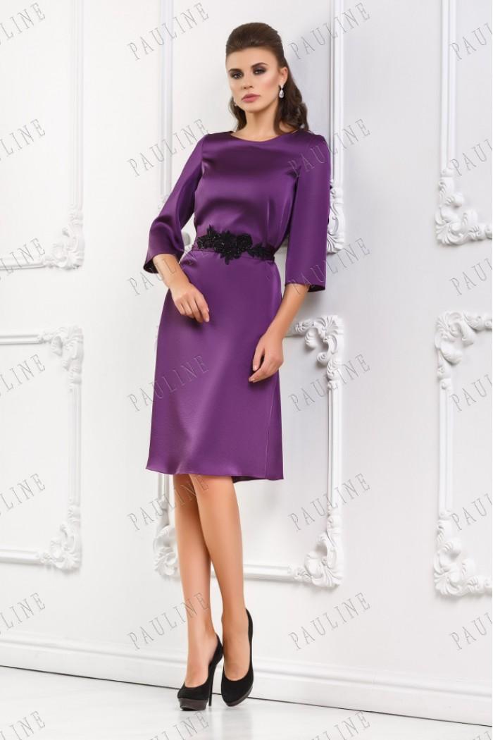 Платье фиолетового цвета из атласа ВАГНЕР классик
