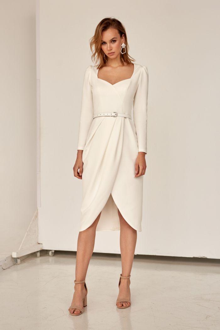 Модное платье силуэта тюльпан с длинным рукавом и декольте ЛАМАРА
