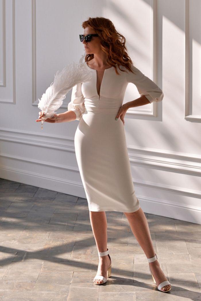 Изящное платье длины миди из плотного крепа МЕЛАНИЯ