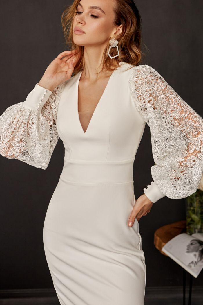 Восхитительное платье-футляр с открытой спиной и кружевными рукавами НИССА