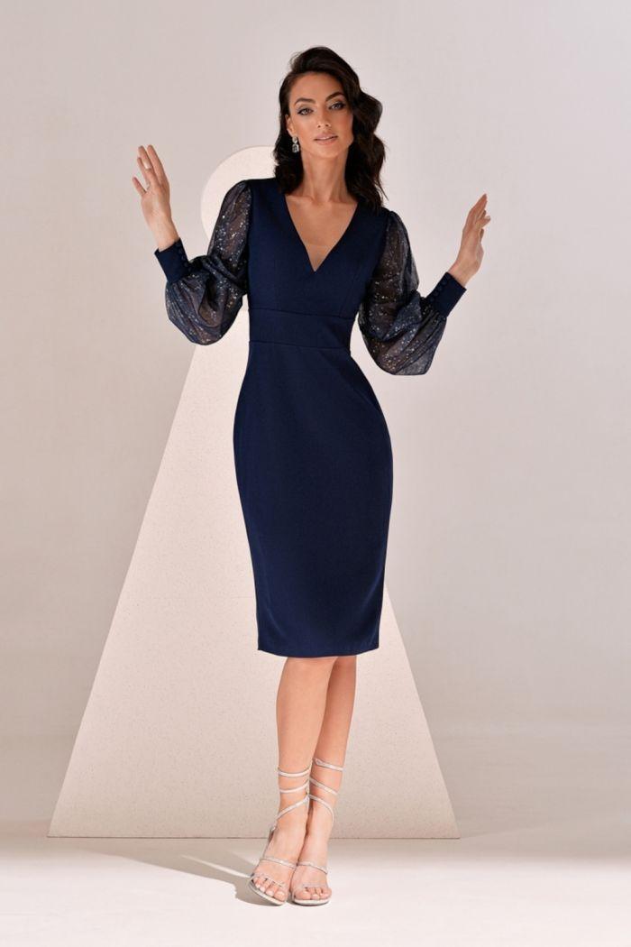 Синее платье футляр с объемными прозрачными рукавами НИССА