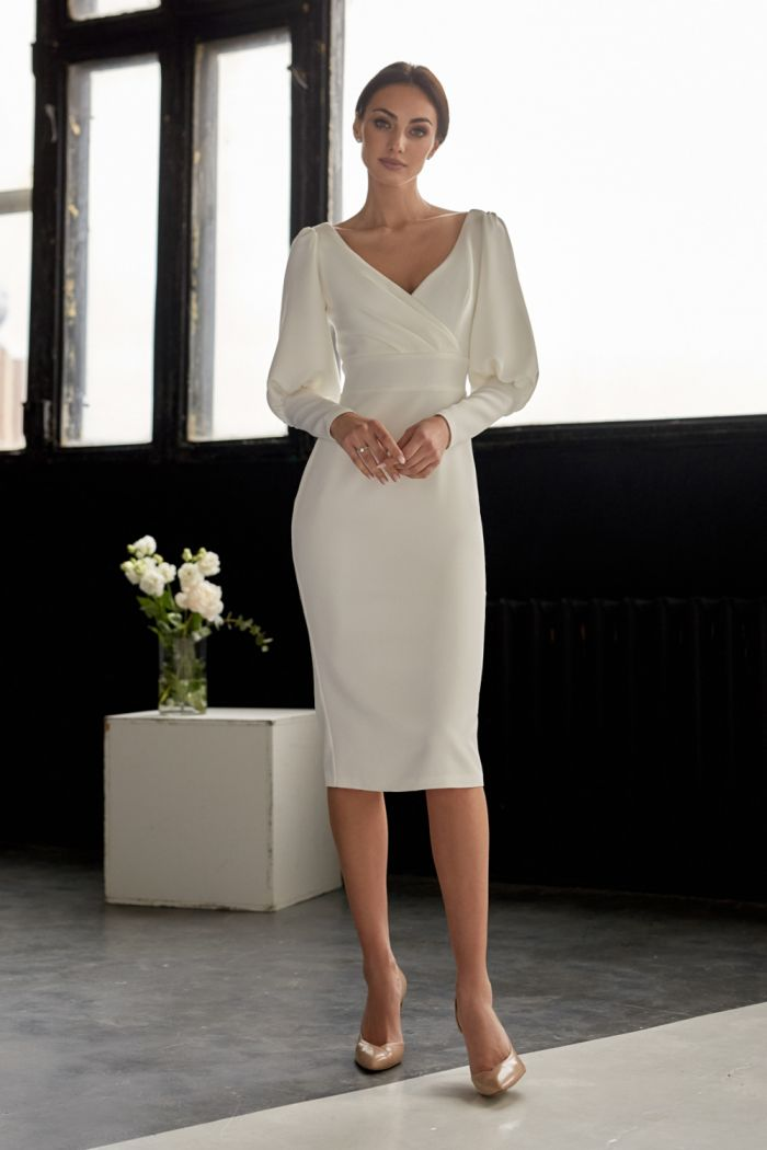 Платье длины миди приталенного силуэта с длинным рукавом РЕЙНИС