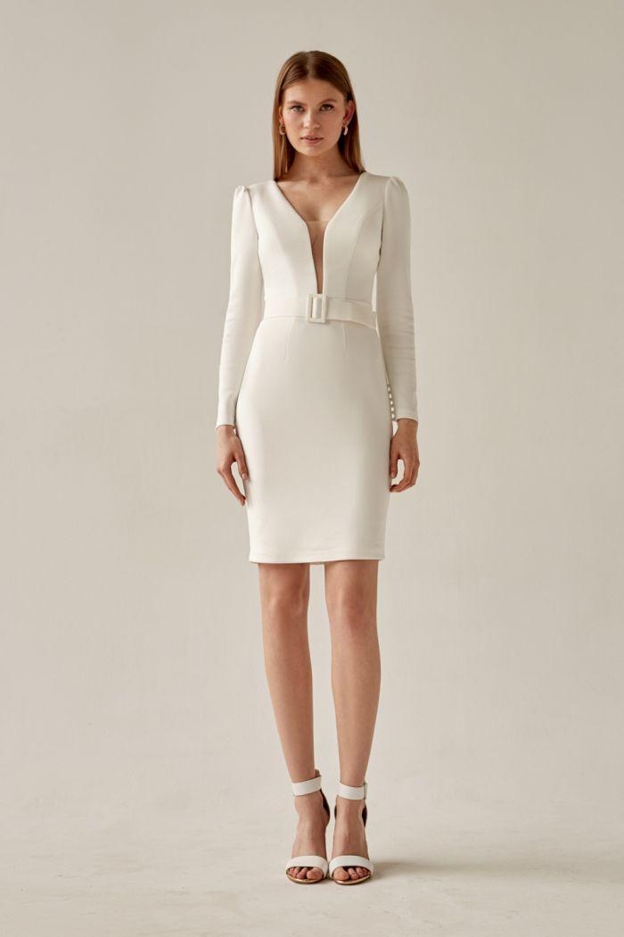 Элегантное короткое платье с прямой юбкой и длинным рукавом СТИВИ