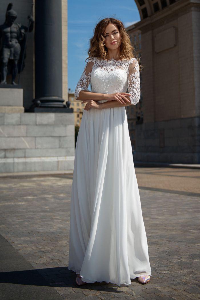 Шифоновое свадебное платье с рукавом SV 182