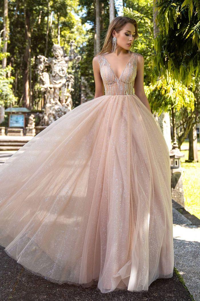Блестящее свадебное платье пудрового оттенка SV 258A