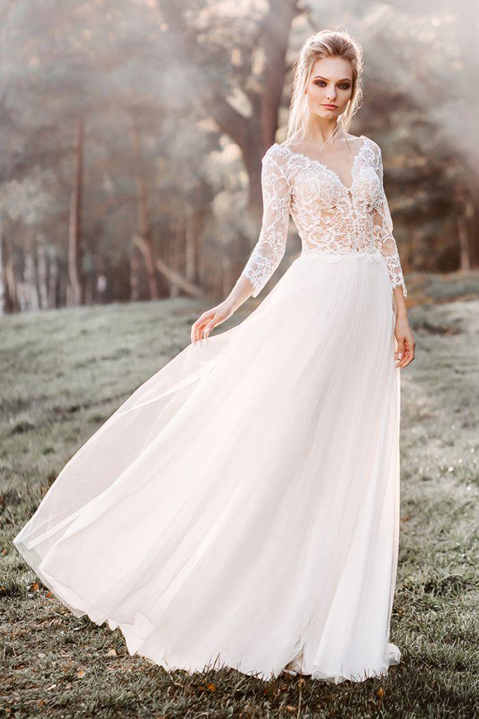 Легкое свадебное платье с рукавами в богемном стиле КАМИЛЛА