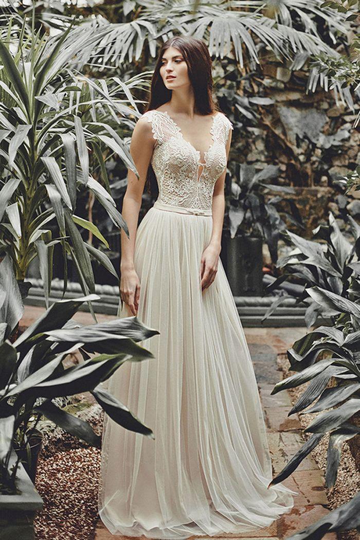 Свадебное платье золотистого цвета в винтажном стиле МЕГГИ